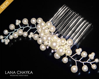 Ivory Pearl Bridal Hair Comb Swarovski Ivory Pearl Floral Hair Piece Wedding Pearl CZ Comb Bridal Ivory Pearl Hair Piece Beach Wedding Combs