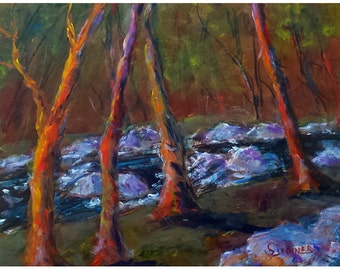 Original Acrylic landscape painting 11x14 Rocky River Early Autumn Graceful Trees