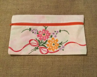Zippered pouch with little red flowers