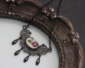 Steampunk Jewelry Purple Necklace Steam Punk Necklace Amethyst Necklace Custom Made Jewelry Opal Light Amethyst from Inspired by Elizabeth