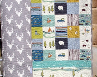 Baby Quilt Organic Gender Neutral Yellow Aqua Pool Teal Blue : camping quilt - Adamdwight.com