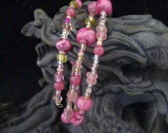 Beaded Memory Wire Bracelet Multi Strand Rose Pink Wrapped Bracelet