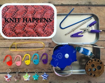 Knit Happens: Knitter's Tool Tin - altered altoid box for travel knitting/knit night/yarn projects
