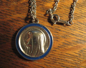 Virgin Mary Necklace - Vintage 1960's Madonna Miraculous Medal Charm Pendant
