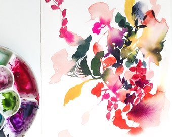 Abstract Floral Watercolor Print | Signed limited edition