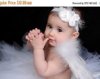10% off SALE wedding headband, baptism headband, christening headband Baby headband, newborn headband,  and photography prop WHITE Chiffon R