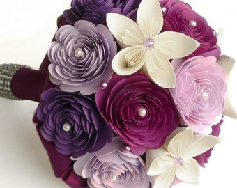 Bouquet Alternative, Purple Wedding Bouquet, Sangria Bouquet, Lilac Wedding, Paper Wedding Bouquet, Purple Bouquet