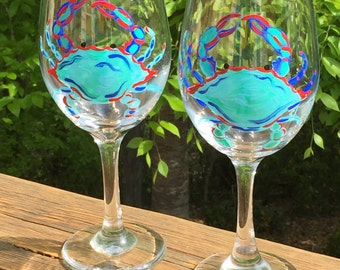 Hand painted wine glasses -  Maryland blue crabs
