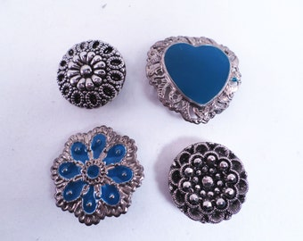Silver Plated, Turquoise Enamel, Marcasite Button Covers Nony Vintage 80s