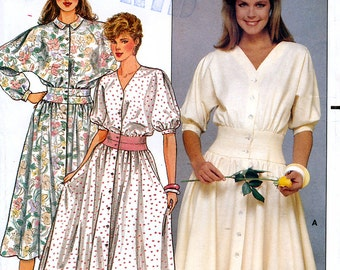 Butterick 4892 Vintage 80s Sewing Pattern by Janet Russo for Misses' Dress - Uncut - Size 12