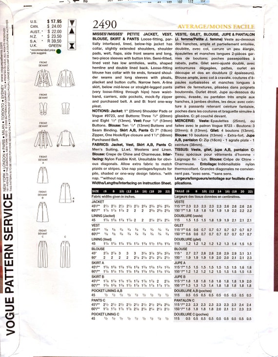 Patrón de costura Vogue armario 2490 para señoritas: chaqueta ...