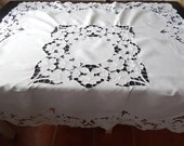 Wedding Tablecloth French Vintage / Cut Work / Hand Embroidered / Wedding and Baptism