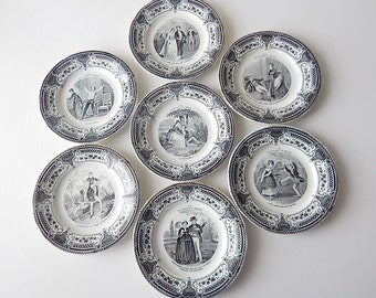 Set of 7 French Antique Dessert Plates Pleasures of Home Life Theme c. 1876-1884