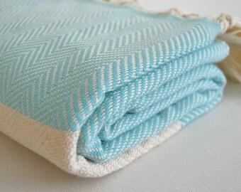 SALE 50 OFF/ BathStyle / Blue / Herrigbone Style Turkish Beach Bath Towel Peshtemal / Bath, Beach, Spa, Swim, Pool Towels