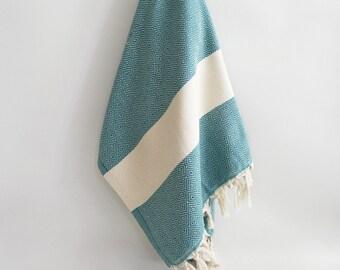 SALE 50 OFF/ Diamond Turkish Beach BathTowel / Teal Green /  Wedding Gift, Spa, Swim, Pool Towels - B