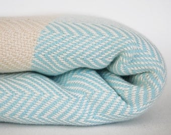 SALE 50 OFF/ Herringbone Blanket / Light Blue / Bedcover, Beach blanket, Sofa throw, Traditional, Tablecloth