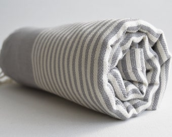 SALE 50 OFF/ Turkish Beach Bath Towel / Classic Peshtemal / Warm Gray / Wedding Gift, Spa, Swim, Pool Towels and Pareo