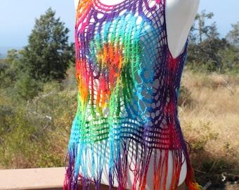 Tie Dye Crochet Tank | Swim Coverup Vest with Long Fringe
