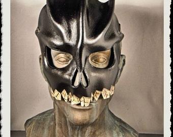 Skull leather mask - black -