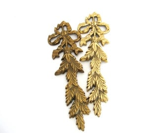 Vintage Brass Wall Sconce Pair Bow Leaves Mixed Metal Wall Accents Decor Leaf Sheaves Hollywood Regency Mid Century Bedroom Bathroom