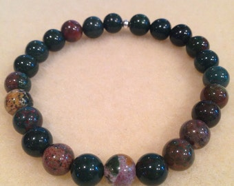 Bloodstone 8mm Bead Stretch Bracelet with Sterling Silver Accent