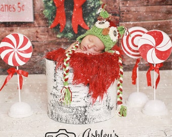Christmas Owl Hat Newborn Photo Prop