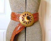 Vintage woven Leather with large brass and stone Belt
