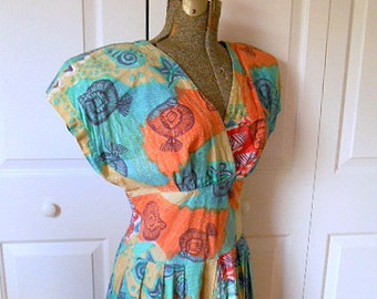Vintage 80's cotton India block print Dress