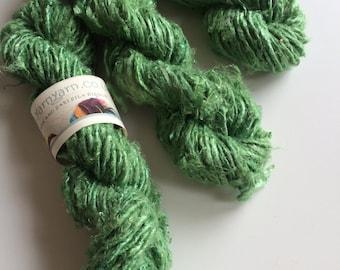 Banana yarn. Art yarn. 200g, fresh green with a pearly sheen, Knitting yarn. Jewelry making, weaving and crafts! Soft slubby chunky yarn