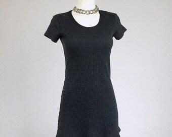 90's Grunge Ribbed Knit Black Mini Dress // S - M