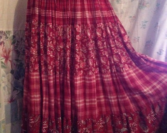 SMALL/MED Flowerchild Hippie Boho Cotton Tiered Red Skirt