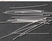 SALE 100 pcs Bright Silver 22 Gauge 38mm 1-1/2 inch Head Pins Headpins, C1-001p