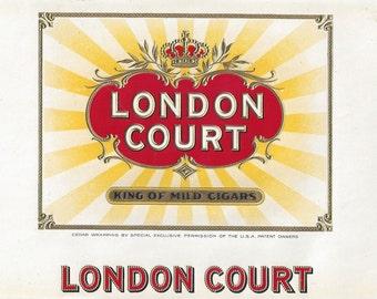 London Court Vintage Cigar Box Label, C1920s