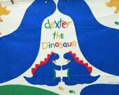 Vintage Sew and Stuff Dinosaur, Vintage Printed Panel, Dexter the Dinosaur, 1980s Sew and Stuff Animal, Stuffed Dino Doll, Blue Dinosaur