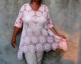 blouse top shirt lagenlook baby pink cotton  Plus Size Handcrocheted Tunic / Sweater XXL 3/4 sleeves