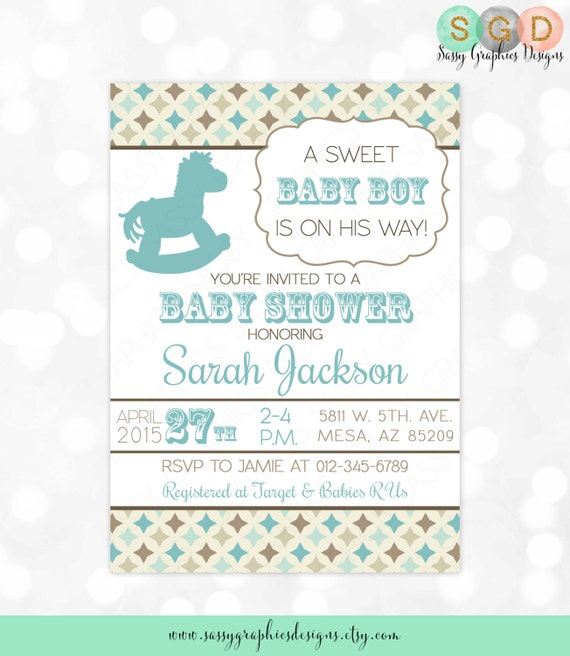 Boy Baby Shower Invitation Baby Boy Blue Brown Western Invitation