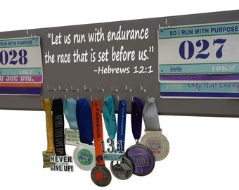 Running medal and race bibs - Let us run with endurance the race set before us. Hebrews 12:1, Gifts for runners