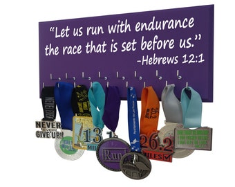 Medals display rack with Inspirational bible verse, Let us run with endurance the race that is set before us. -Hebrews 12:1, Medal displays