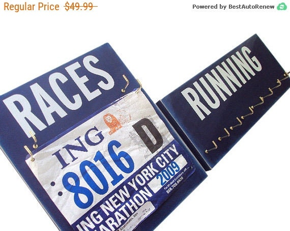 running Gear: medals and bibs display - running gear