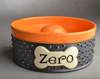 Personalized Slow Feeder Dog Bowl Single Made To Order Spiky Dog Bowl by Symmetrical Pottery
