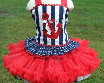 Nautical Pageant Wear Outfit of Choice July the Fourth Ready To Ship 2 piece Outfit