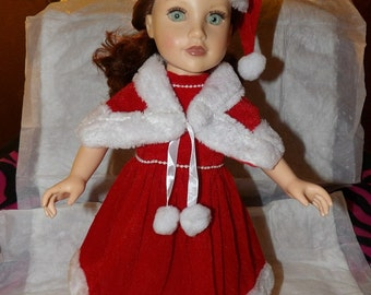 Velvet & fur Santa dress, cape and hat for 18 inch dolls - ag263