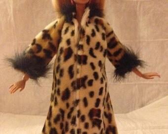 Leopard print coat with fur trim for Fashion Dolls - ed811