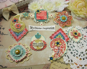 Basic Grey Spice Market Boho Chic Handmade Paper Embellishments, Paper Flowers for Scrapbook Layouts Cards Mini Albums Tags and Papercrafts