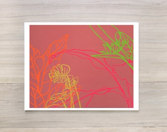Digital Print - Paradise Drift - large bright neon minimalistic pop painting tropical leaves coral green orange pink vibrant