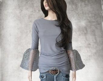 Gray daisy top/Half bell sleeve/knit blouse women