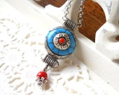 SALE Blue pendant necklace boho necklace tibetan pendant ethnic amulet turquoise tibetan style bohemian necklace turquoise red stone