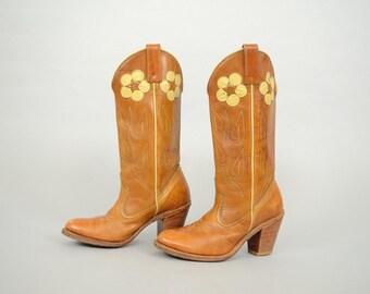 70's ACME Floral Appliqué Boots