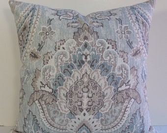 Teal and aqua IKAT Decorative pillow cover medallion throw pillow on both sides, weathered designer cotton in euro sham, squares, lumbars