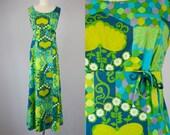 1960s Vintage Floral Hawaiian Print Empire Maxi Dress (M, L)